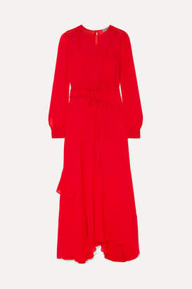 Preen Line Brea Asymmetric Ruffled Lace-trimmed Georgette Maxi Dress - Red
