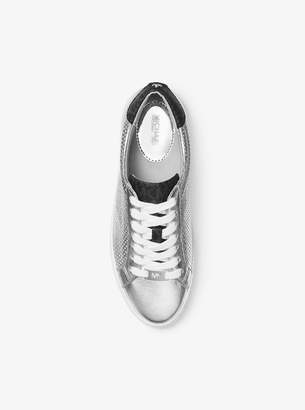 MICHAEL Michael Kors Irving Perforated Metallic Leather and Logo Sneaker