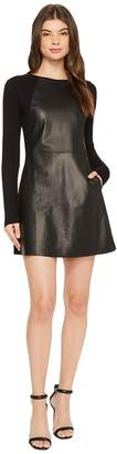 Michael Stars Leather Mix Long Sleeve A-Line Mini Dress Women's Dress