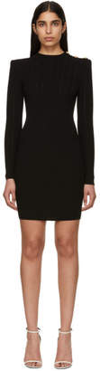 Balmain Black Buttoned Knit Mini Dress