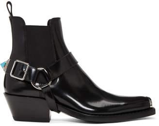Calvin Klein Black Western Harness Boots