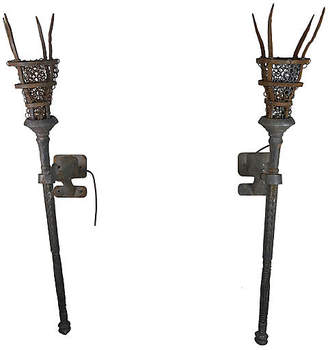 One Kings Lane Vintage Pair of Wrought Iron Torchiere Sconces