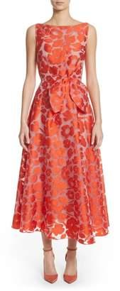 Lela Rose Bow Waist Tea Length Dress