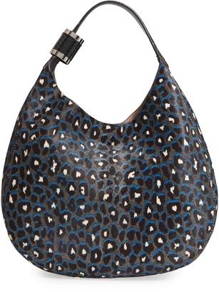 Jimmy Choo Stevie Leopard Print Genuine Calf Hair Hobo