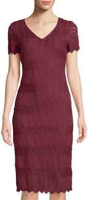 9f9745eea1b Neiman Marcus Short-Sleeve Lace Sheath Midi Dress