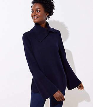 LOFT Petite Split Turtleneck Flare Sleeve Sweater