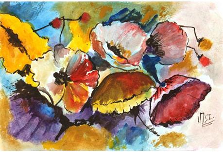 Maps and Art Poppy Flowers