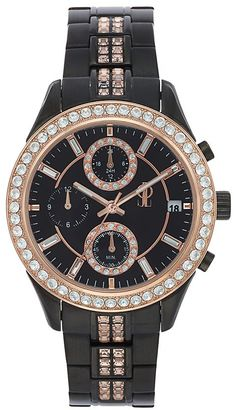 Jennifer Lopez Women's Marilyn Crystal Two Tone Stainless Steel Chronograph Watch $215 thestylecure.com