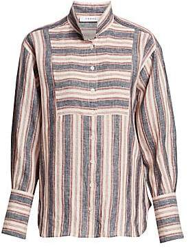 Frame Women's Striped Bib Linen Button-Down Shirt