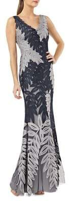 JS Collections Leaf Soutache Mermaid Gown