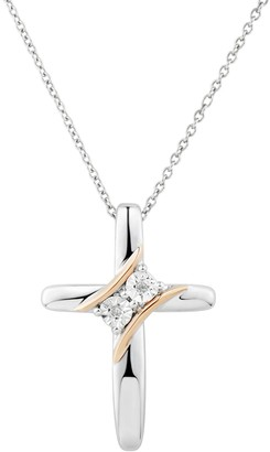 Two Tone Sterling Silver Diamond Accent 2-Stone Cross Pendant
