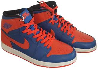 5dd1bad5817 Jordan Air 1 Blue Leather Trainers