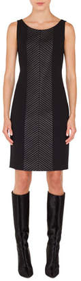 Akris Scoop-Neck Sleeveless Herringbone Leather-Stripe Sheath Dress