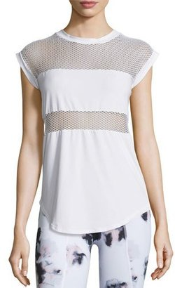 Varley Strand Mesh Technical Athletic Tee, White $65 thestylecure.com