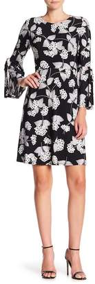 Nine West Bell Sleeve Floral Print Dress