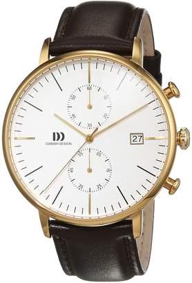 Danish Design Men's Brown Leather Band Steel Case Quartz Silver-Tone Dial Analog Watch IQ45Q975