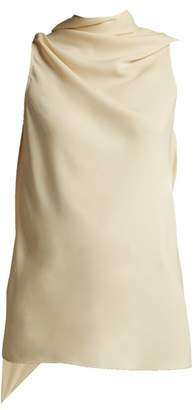 Jil Sander Fonte Draped Crepe Top - Womens - Cream