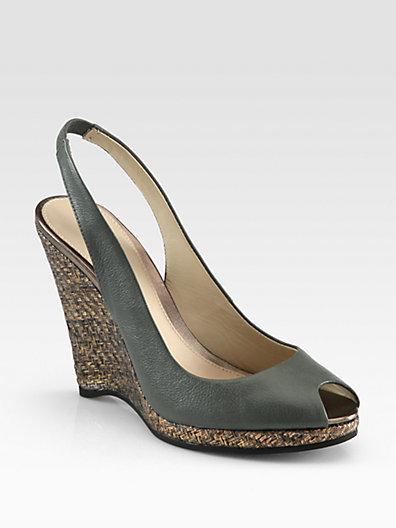 Elie Tahari Whitney Leather & Metallic Raffia Wedge Sandals