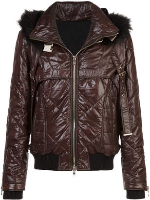 Balmain fur-trimmed quilted jacket
