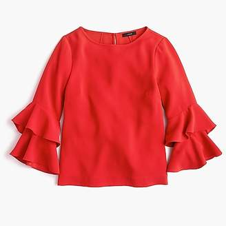 J.Crew Tall Tiered bell-sleeve top in drapey crepe