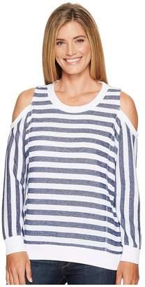 Tribal Long Sleeve Cold Shoulder Stripe Top Women's Blouse