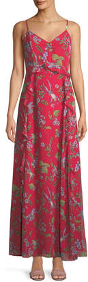 Nanette Lepore Nanette V-Neck Sleeveless Floral-Print Chiffon Maxi Dress