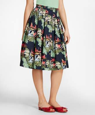 Brooks Brothers Tropical-Print Cotton Sateen Pleated Skirt