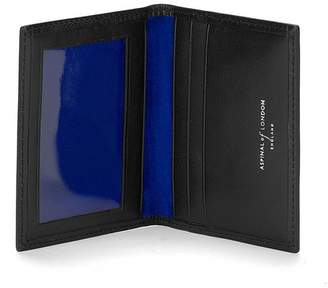Aspinal of London Id Travel Card Case In Smooth Black Cobalt Suede