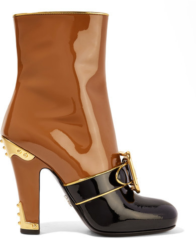 Prada - Buckled Two-tone Patent-leather Boots - Tan