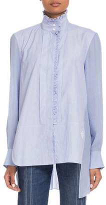 Chloé Stand-Collar Ruffled Long-Sleeve Mixed-Media Shirt