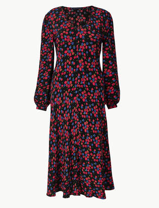 Marks and Spencer Floral Print Fit & Flare Midi Dress