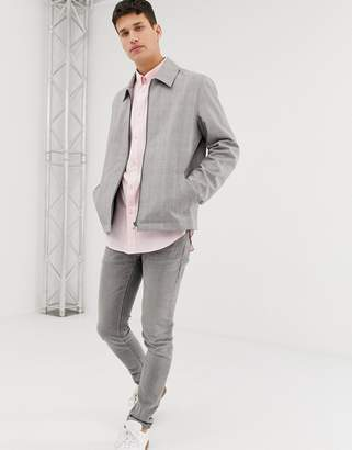 Asos Design DESIGN zip through jacket in gray check