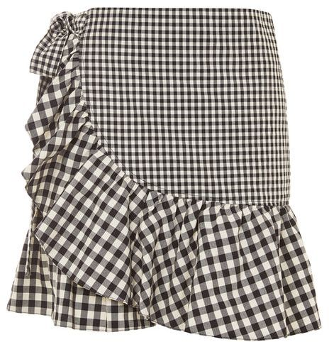 Topshop Topshop Gingham frill wrap mini skirt