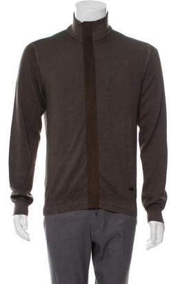 Armani Collezioni Virgin Wool Zip-Up Sweater