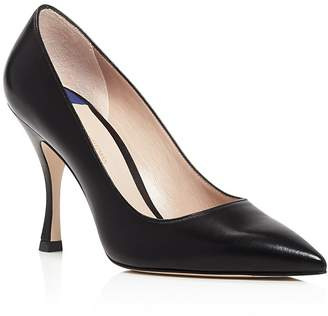 Stuart Weitzman Women's Tippi 95 Pointed Toe Leather High-Heel Pumps