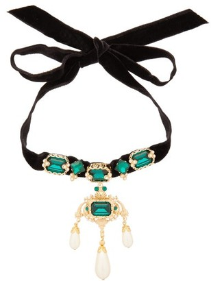 Dolce & Gabbana Crystal And Faux Pearl Embellished Velvet Necklace - Womens - Black