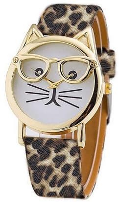 OLIVIA PRATT Olivia Pratt Cat Unisex Green Strap Watch-15097cheetah