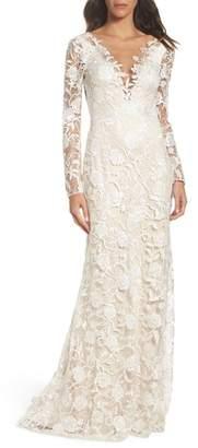 Tadashi Shoji Long Sleeve A-Line Sheath Gown