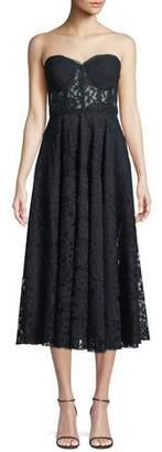 Jay Godfrey Burnaby Strapless Lace Midi Cocktail Dress