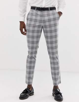 Jack and Jones slim fit suit pants in grey check