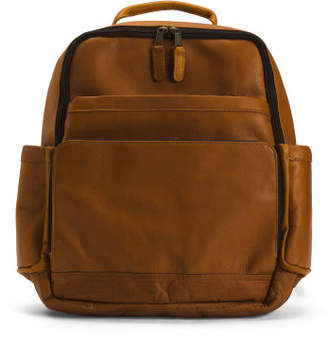 Front Flap Leather Backpack