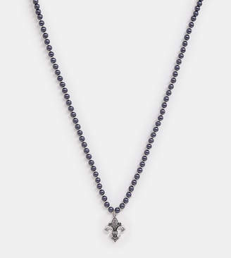 Reclaimed Vintage inspired necklace with beaded chain and fleur de lis exclusive to ASOS