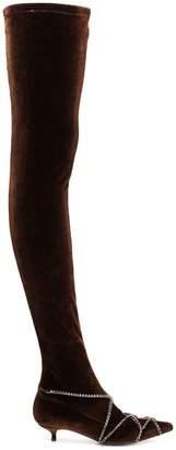 Sonia Rykiel rhinestone chain thigh boots