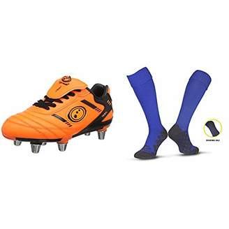Optimum Boys' Tribal Moulded Stud Rugby Boots Fluro Orange/Black (36 EU) with Men's Classico Sports Socks, Royal, Junior (3-6)