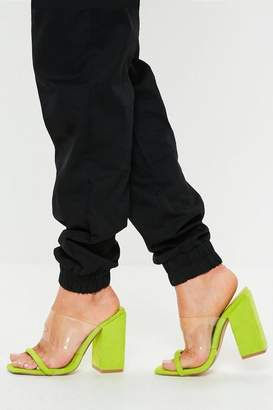 49aa0baa25a8 Missguided Neon Lime Faux Suede Clear Block Heel Sandals
