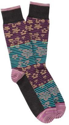 Robert Graham Santino Floral Striped Crew Socks