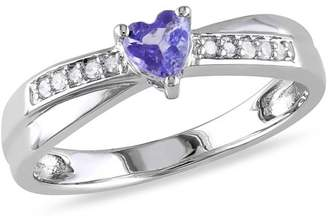 Tangelo 1/4 Carat T.G.W. Tanzanite and Diamond-Accent Sterling Silver Cross-Over Heart Engagement Ring