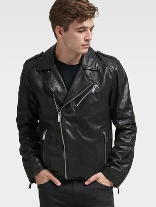 DKNY Burnished-Leather Biker Jacket