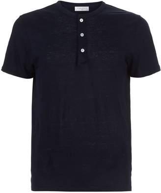 Sandro Mandarin Collar Linen T-Shirt