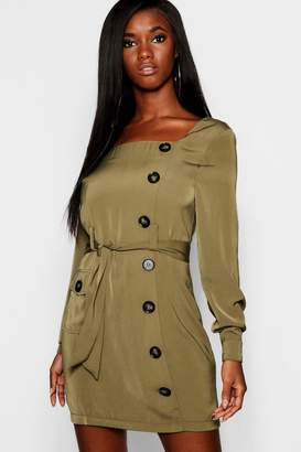 boohoo Button Front Belted Shift Dress